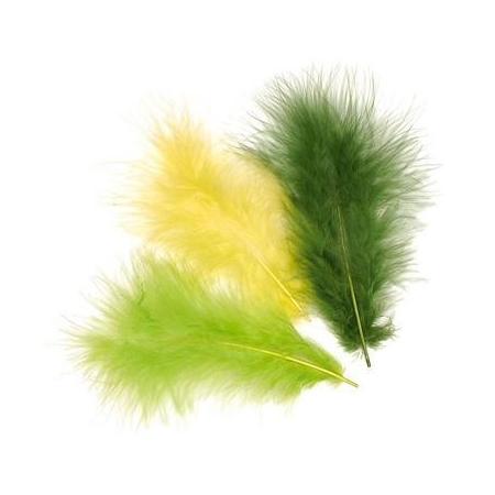 Plumes de marabout vert clair 9cm 15 pces