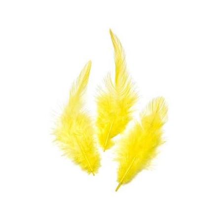 Plumes de coq, jaune 10cm 16 pces