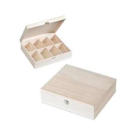 FSC Boîte en bois 8 comp 27,5cm