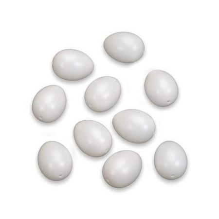 Oeufs en plastique blanc 60 x 45 mm 10 pces