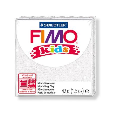 FIMO kids, glitter blanc 42g