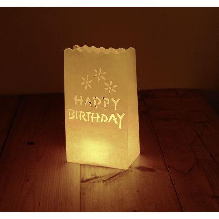 Sachets lumineux Happy Birthday grd blc 6pcs
