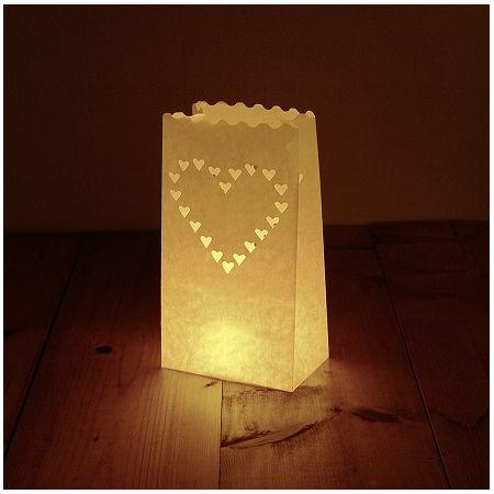 Sachet lumineux Coeur grd blc 6 pcs