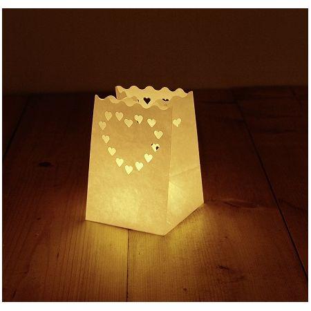 Sachet lumineux Coeur petit blanc 6 pcs