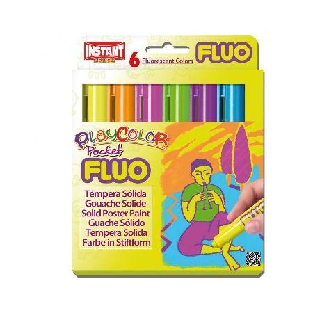Gouaches solide Fluo Pocket - Boîte de 6 couleurs