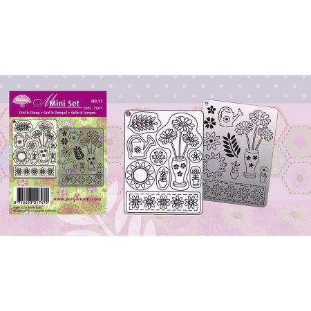 Set Pergamano grille et tampon 11 Fleur print