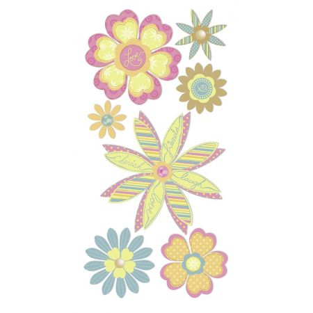 Sticker Fleurs pointues pastel