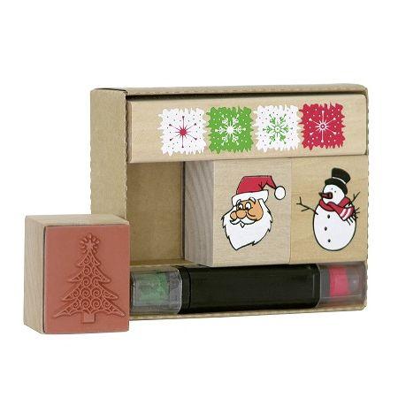 Tampons boîte Noël rouge/vert 4pc