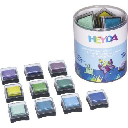 Tampon encreur boîte Aqua 10 pces