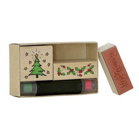 Tampons boîte Noël rouge/vert 3pc