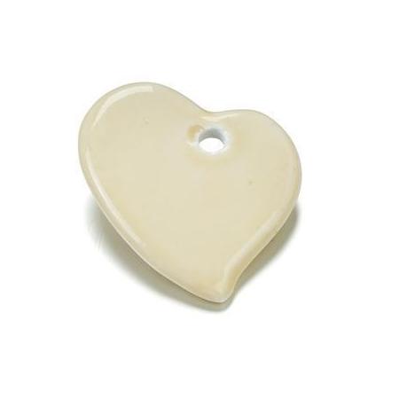 Perle en porcelaine Coeur 44x47 beige