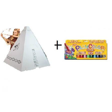 Kit Tipi + Gouaches solide Basic One - Boîte de 12 couleurs