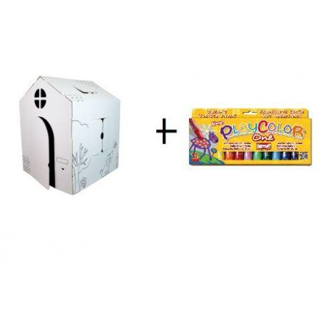 Kit Maison + Gouaches solide Basic One - Boîte de 12 couleurs