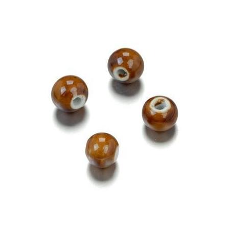 Perle en porcelaine ronde 10mm brun