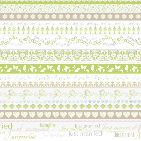 Carton A4 Just married frise verte