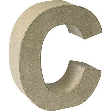 Lettre 3D papier mâché C 17,5x5,5cm