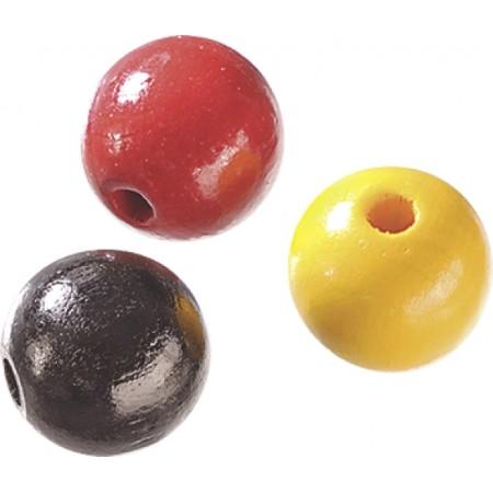 Perle bois 6mm noi/rou mél.125pc