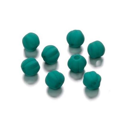 Perles rainurée mate bleu pétrole 8 mm