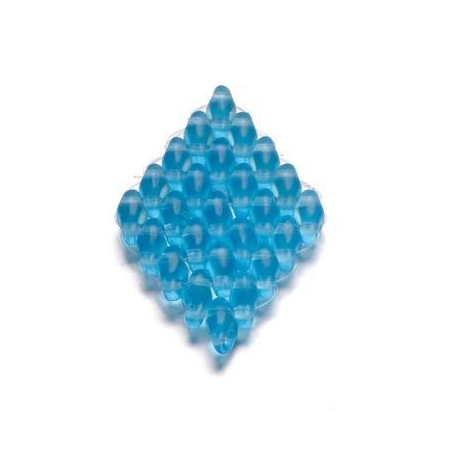 Duo Beads 2 trous 2,5 x 5 mm turquoise mat transparent 12g