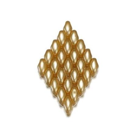 Perles Duo Beads aspect cire 2,5 x 5 mm beige