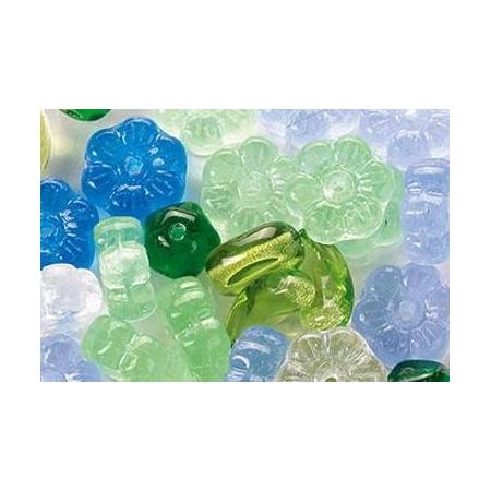 Assortiment de perles en verre bleu-vert SB