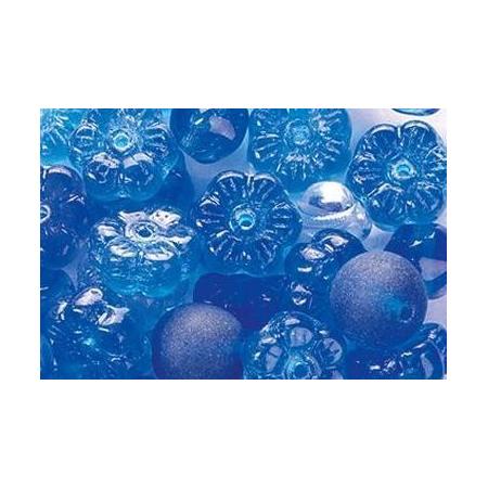 Assortiment de perles en verre bleu SB