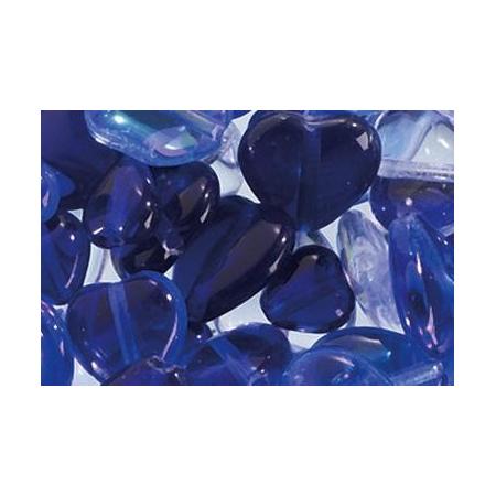 Assortiment de perles coeur en verre bleu