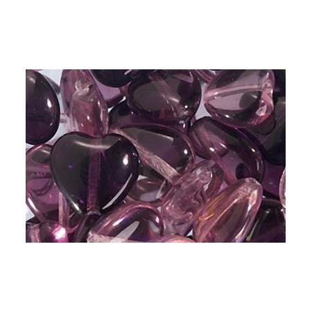 Assortiment de perles coeur en verre lilas