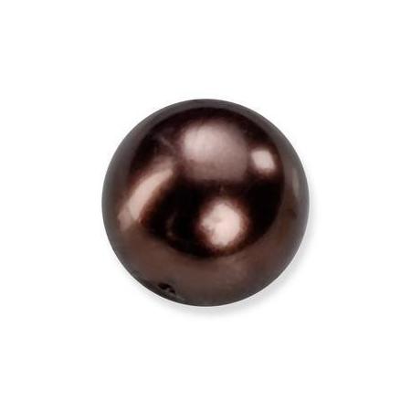 Perles en verre nacrées de Bohème brun 4mm
