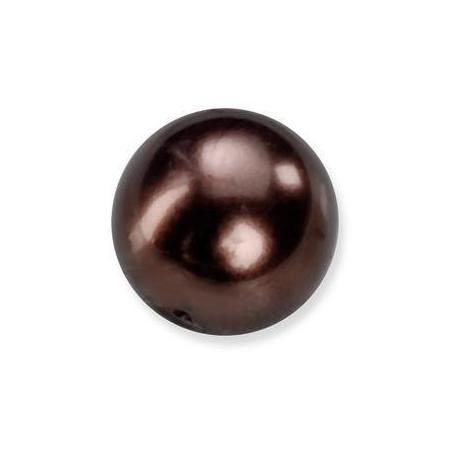 Perles en verre nacrées de Bohème brun 6mm
