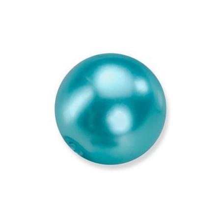 Perles en verre nacrées de Bohème turquoise 6mm