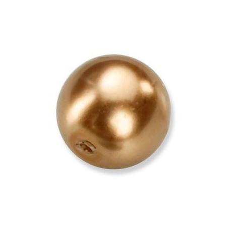 Perles en verre nacrées de Bohème bronze 6mm