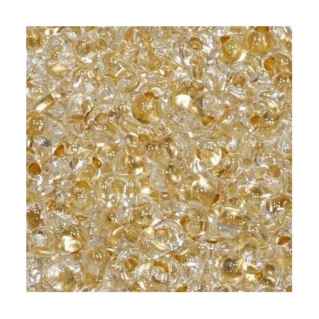 Rocailles Farfalle 2x4mm cristal - doré 15 grs