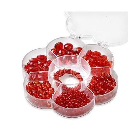 Assortiments de perles en verre rouge + cordon