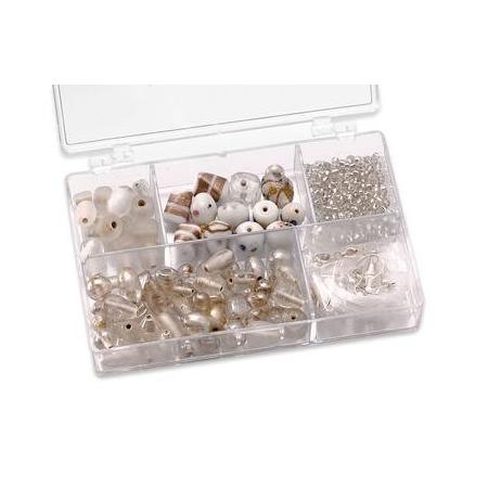 Assortiments de perles blanc 5 compartiments