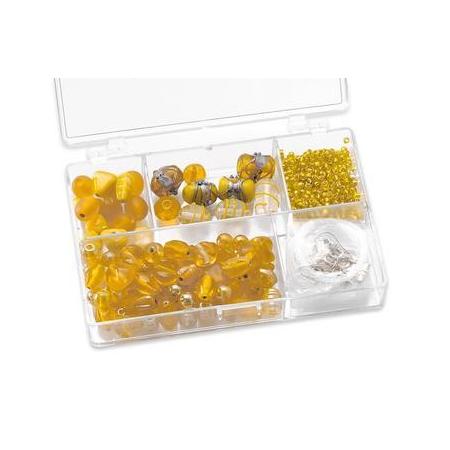 Assortiments de perles jaune 5 compartiments