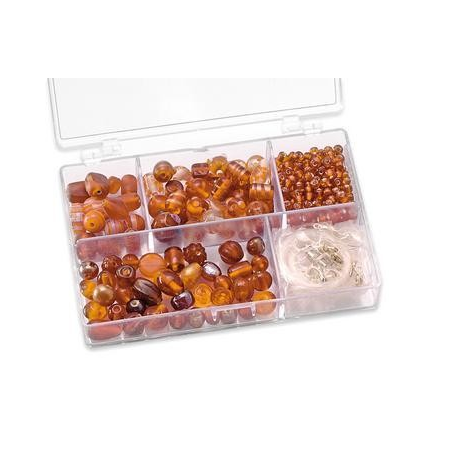 Assortiments de perles orange 5 compartiments
