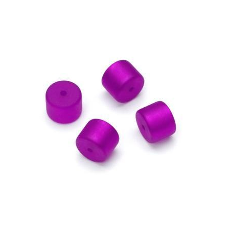 Perle Cylindre Polaris mate 8x10mm violet