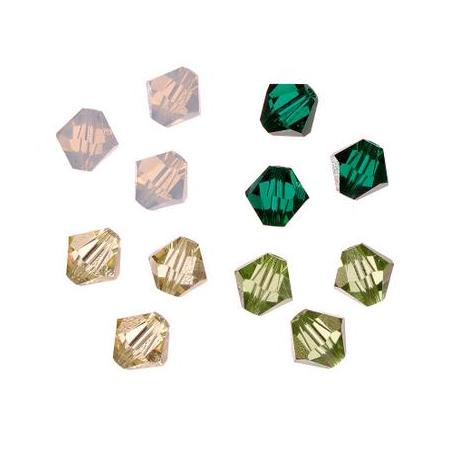 Set de perles Swarovski toupies vert