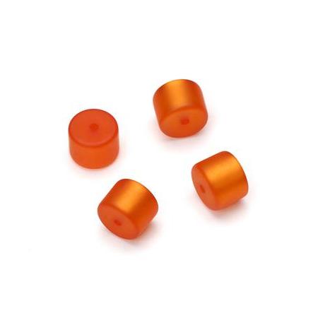 Perle Cylindre Polaris mate 8x10mm orange