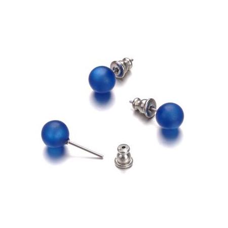 Paire boucles d'oreilles Polaris bleu 8mm