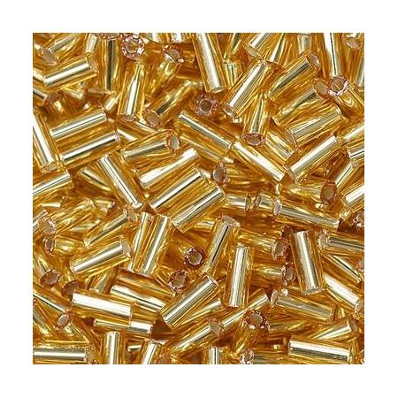 Rocailles bâtons 5x2mm doré 10 grs