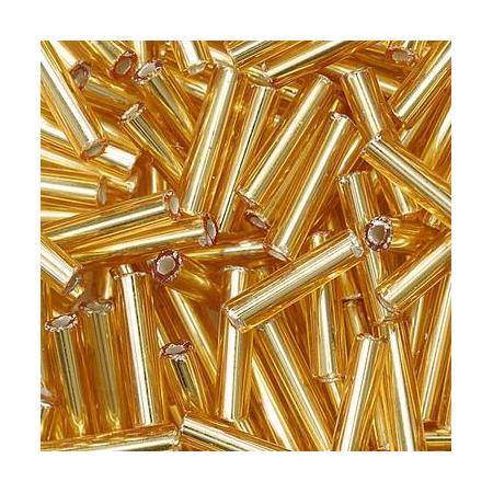 Rocailles bâtons 9x2mm doré 10 grs