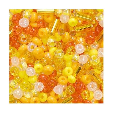 Rocailles assorties 2,5mm jaune 20 grs