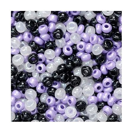 Rocailles assorties 2,5mm lilas/noir/blanc 20 grs